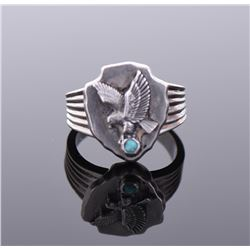 FM Signed Turquoise Sterling Silver