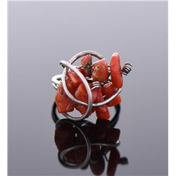 Red Coral Sterling Silver Ring.