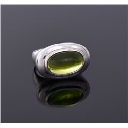 Green Stone Sterling Silver Ring.