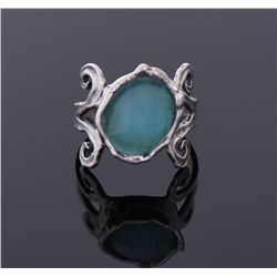 Blue Faceted Stone Sterling Silver Ring.