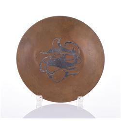 Silver Inlaid Copper Plate.