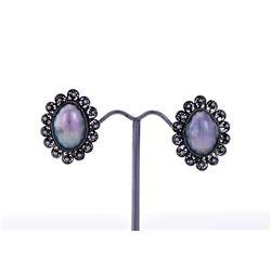 Black Pearl Sterling Silver Screw Earring