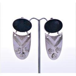 Blood Stone Sterling Silver Clip Earring