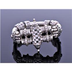Modernist Locking Arch Linked Solid Sterling Bracelet