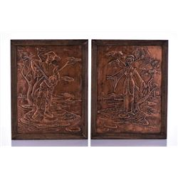 Two Vintage Embossed Pressed Copper