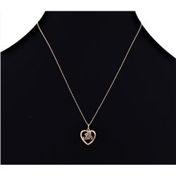 14k Yellow Gold Heart Shaped Number One