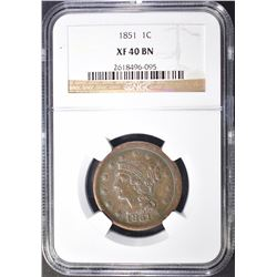 1851 LARGE CENT NGC XF-40 BN