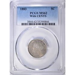 1883 WITH CENTS LIBERTY NICKEL, PCGS MS-62