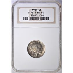 1913 TYPE 1 BUFFALO NICKEL NGC MS-64