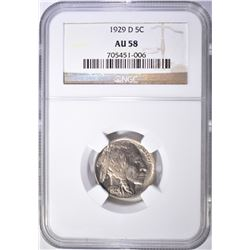 1929-D BUFFALO NICKEL, NGC AU-58