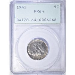 1941 JEFFERSON NICKEL, PCGS PR-64 RATTLER HOLDER