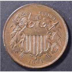 1864 2-CENT PIECE, AU/BU