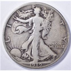 1919 WALKING LIBERTY HALF DOLLAR, FINE