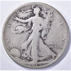1919-D WALKING LIBERTY HALF DOLLAR, VG/F