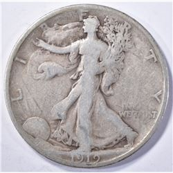 1919-S WALKING LIBERTY HALF DOLLAR, VG