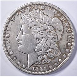 1884-S MORGAN DOLLAR, XF/AU