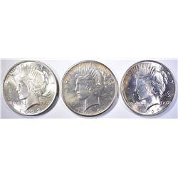 1922, 23 & 25 CH BU PEACE DOLLARS