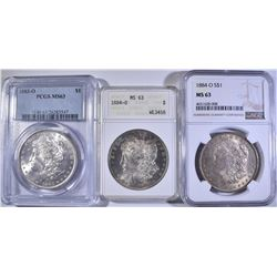3 CERTIFIED MORGAN DOLLARS ALL MS-63