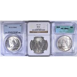 3 CERTIFIED PEACE DOLLARS
