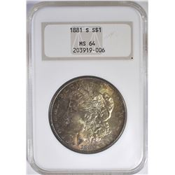 1881-S MORGAN DOLLAR NGC MS-64 COLOR