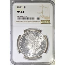 1886 MORGAN DOLLAR  NGC MS-63