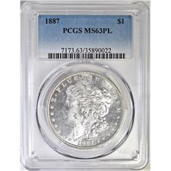 1887  MORGAN DOLLAR PCGS MS-63 PL