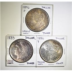 3 CH BU TONED MORGAN DOLLARS
