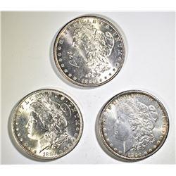1884-O, 86, 90 MORGAN DOLLARS CH BU