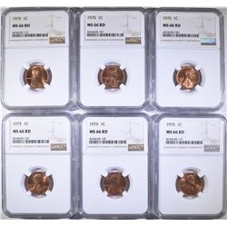 (6) 1975 NGC MS-66 Lincoln Cents RD
