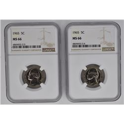 2-1965 JEFFERSON NICKELS, NGC MS-66