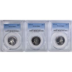 3 1971-S WASHINTON QUARTERS PCGS PR-69