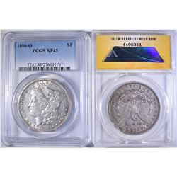 1896-O PCGS XF45 & 97-O ANACS EF45 MORGAN DOLLARS