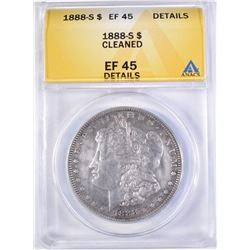 1888-S MORGAN DOLLAR ANACS EF-45 DETAILS CLEANED