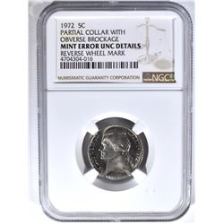 1972 MINT ERROR JEFFERSON NICKEL, NGC UNC details
