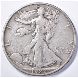 1929-D WALKING LIBERTY HALF DOLLAR, XF