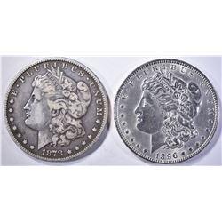 1878-S FINE & 1896 BU cleaned MORGAN DOLLARS