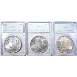 1923 & 2-22 PEACE DOLLARS PCGS MS-62 RATTLER HOLDE