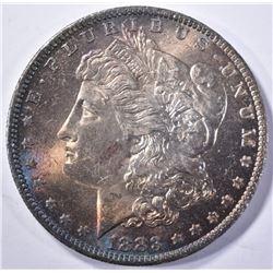 1883-O MORGAN DOLLAR, CH BU RAINBOW COLORS