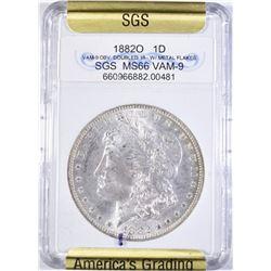 1882-O MORGAN DOLLAR SGS SUPERB GEM BU