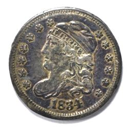 1834 CAPPED BUST HALF DIME, XF