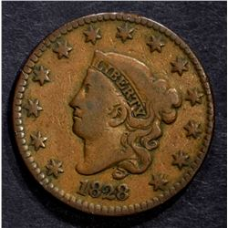1828 LARGE CENT, F/VF