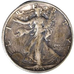 1920-S WALKING LIBERTY HALF DOLLAR, XF