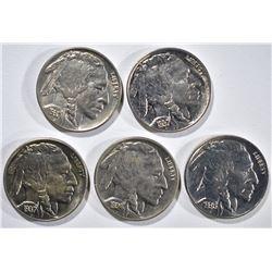 1-1934, 1-36 & 3-37 CH BU BUFFALO NICKELS