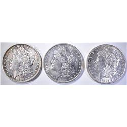 (3) AU MORGANS: 1882-O, 1885-O, 1898
