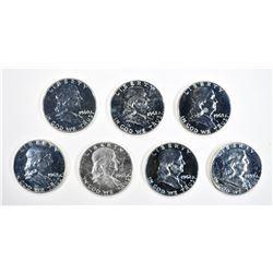 (7) PROOF FRANKLIN HALF DOLLARS 1959-1963