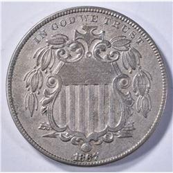1867 SHIELD NICKEL AU