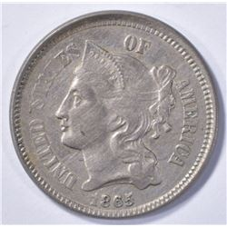 1865 NICKEL THREE-CENT NICKEL  AU