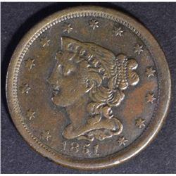 1851 BRAIDED HAIR HALF CENT AU