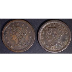 1851 & 1854 BRAIDED HAIR XF LARGE CENT