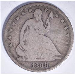 1868 SEATED LIBERTY HALF DOLLAR G/VG